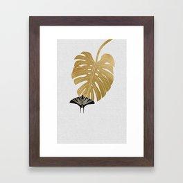 Butterfly & Monstera Framed Art Print