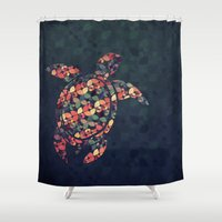 tortoise Shower Curtains featuring The Pattern Tortoise by VessDSign