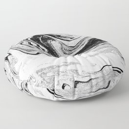 Masuki - black and white minimal spilled ink marbled paper marble texture marbling marble painting Floor Pillow