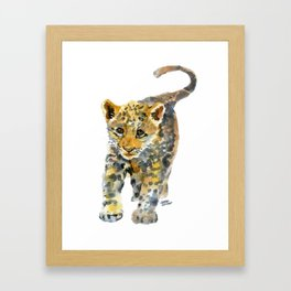 Baby Jaguar Watercolor Painting Framed Art Print