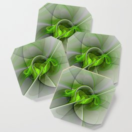 Abstract Green Fractal Art Coaster