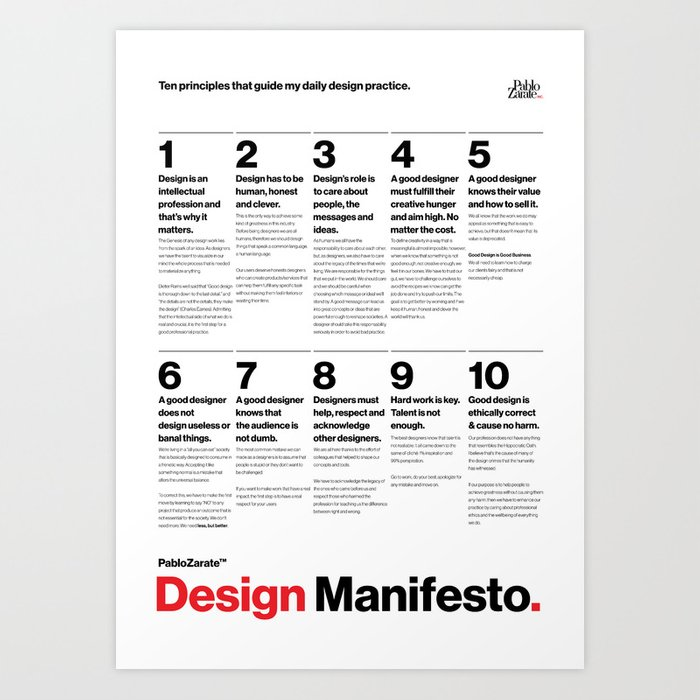 PabloZarate™ Design Manifesto Art Print