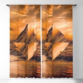 Ocean Sunset Geometric Blackout Curtain