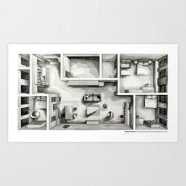FRANCES HA's Chinatown flat in watercolor Art Print