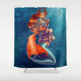 Redhead Shibari Mermaid Shower Curtain