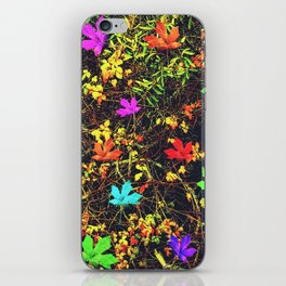maple leaf in blue red green yellow pink orange with green creepers plants background iPhone Skin