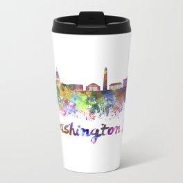 Washington DC skyline in watercolor splatters Metal Travel Mug