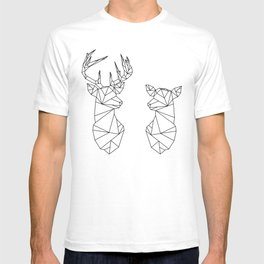 Geometric Stag and Doe (Black on White) T-shirt