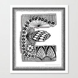 Zentangle E Monogram Alphabet Illustration Canvas Print