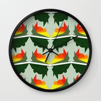 ships Wall Clocks featuring Burning Ships by Mimi
