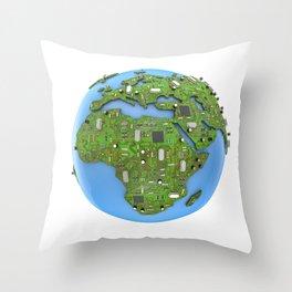 Data Earth Throw Pillow