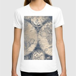 Antique World Map White Gold Navy Blue by Nature Magick T-shirt