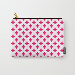 Hot Neon Pink Crosses on White Carry-All Pouch