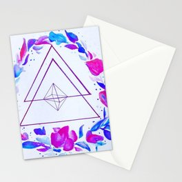 Geometric floral wreath Stationery Cards