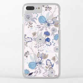 Abstract rustic navy blue gray floral pink stripes pattern Clear iPhone Case