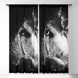 english bulldog dog splatter watercolor black white Blackout Curtain