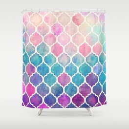 Rainbow Pastel Watercolor Moroccan Pattern Shower Curtain