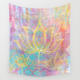 Layered Gold Lotus Painting Wall Tapestry
