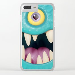 Cartoony monster face Clear iPhone Case