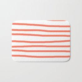 Simply Drawn Stripes in Deep Coral Bath Mat