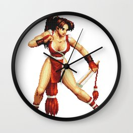 Mai Shiranui pixel art Retrogaming Wall Clock
