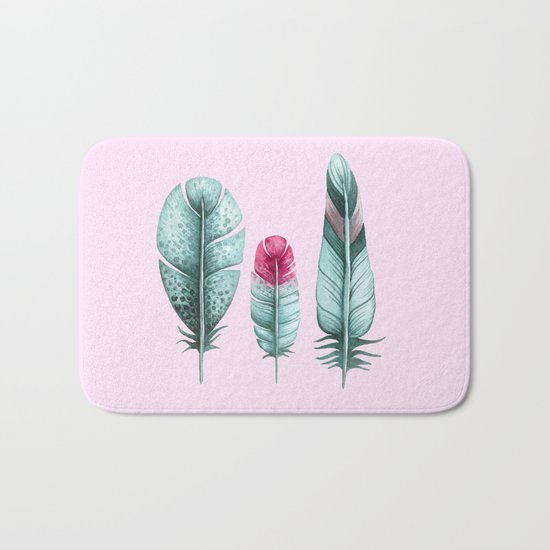 Watercolor feathers (pink) Bath Mat