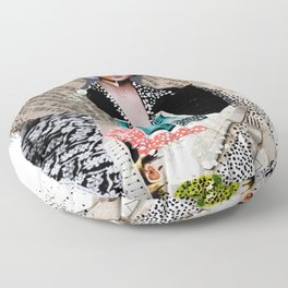 Two Bottles - Magazine Collage Painting Floor Pillow