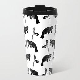 Manatee linocut black and white minimal pattern nature art manatees Travel Mug
