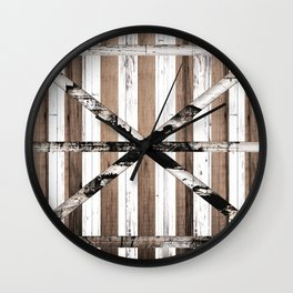 Rustic Multi Wood Barn Door Wall Clock