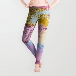 Purple Plum Gold & Blue Brushes Leggings