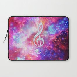 Galaxy Nebula Glitter Music Note Pink Space Laptop Sleeve