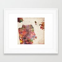 san francisco Framed Art Prints featuring San Francisco map by MapMapMaps.Watercolors
