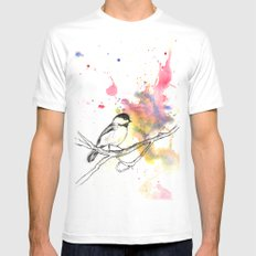 Chickadee in a Splash of Color SMALL White Mens Fitted Tee