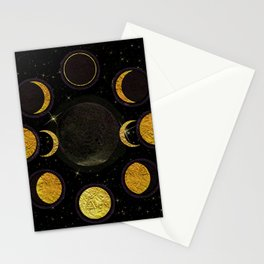 Black & Gold Moon Phases Stationery Cards