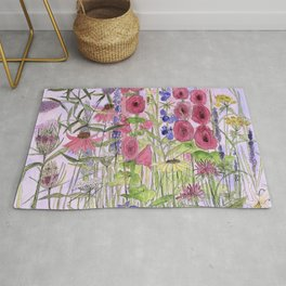 Watercolor Wildflower Garden Flowers Hollyhock Teasel Butterfly Bush Blue Sky Rug