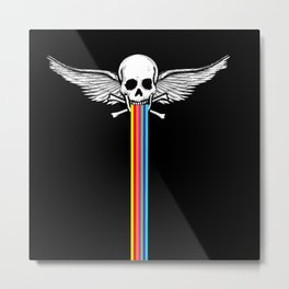 Rainbow Winged skull  Metal Print
