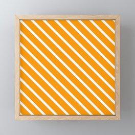 Neon Orange Diagonal Stripes Framed Mini Art Print