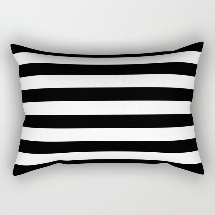 Stripe Black & White Horizontal Rectangular Pillow