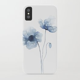 Blue Watercolor Poppies iPhone Case