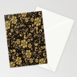 Gold Metallic Floral on Black Stationery Cards