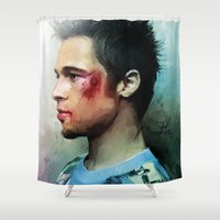 brad pitt Shower Curtains featuring Brad Pitt 'Tyler Durden' The Fight Club by Vlad Rodriguez