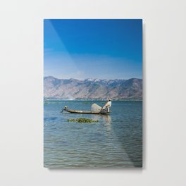 The Leg Rowing Fisherman Myanmar   Inle lake blue sunrise Fine art   Color - blue - travel - photography - Art print Metal Print
