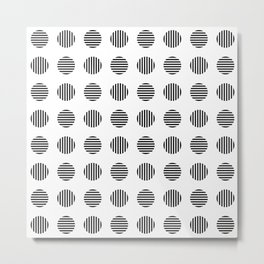 Striped dots pattern in black and white Metal Print