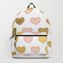Modern elegant faux gold foil valentine pink hearts Backpack