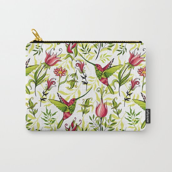 Hummingbird and flowers Carry-All Pouch