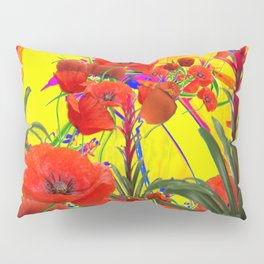 MODERN TROPICAL FLOWERS GARDEN DESIGN IN YELLOW-ORANGE COLORS Pillow Sham