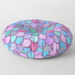 Colorful Pink Glitter Mermaid Scales Floor Pillow