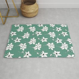White Flowers with Green Background Rug
