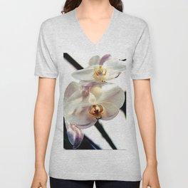 White Orchids Unisex V-Neck