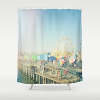 santa monica Shower Curtains featuring Santa Monica by SoCal Chic Photography